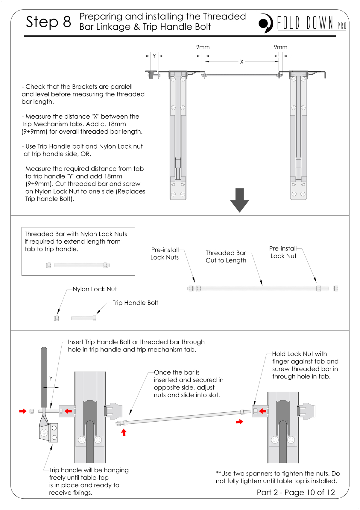 FDP Wall Mounted Folding Bracket Instruction Page 10