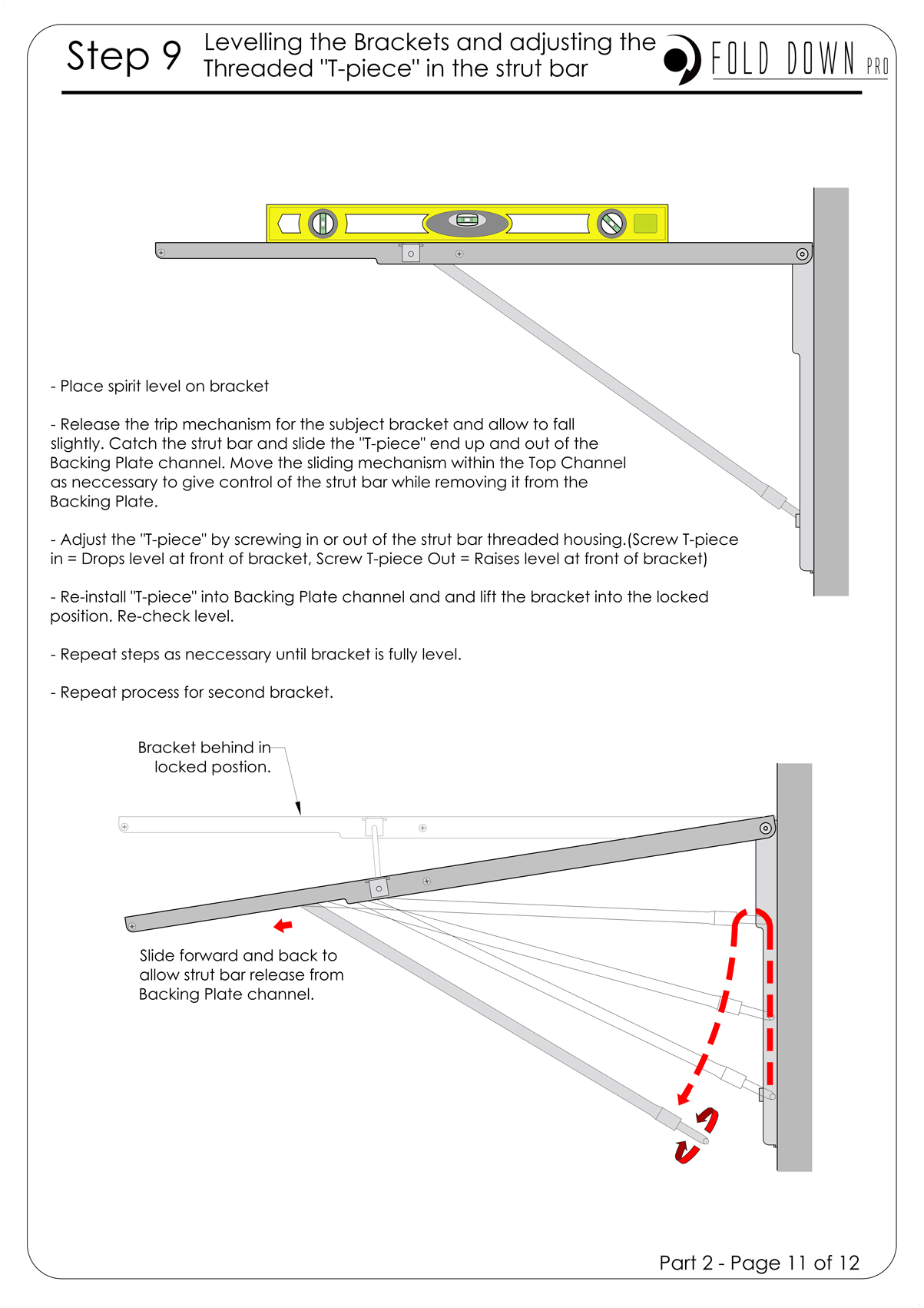FDP Wall Mounted Folding Bracket Instruction Page 11