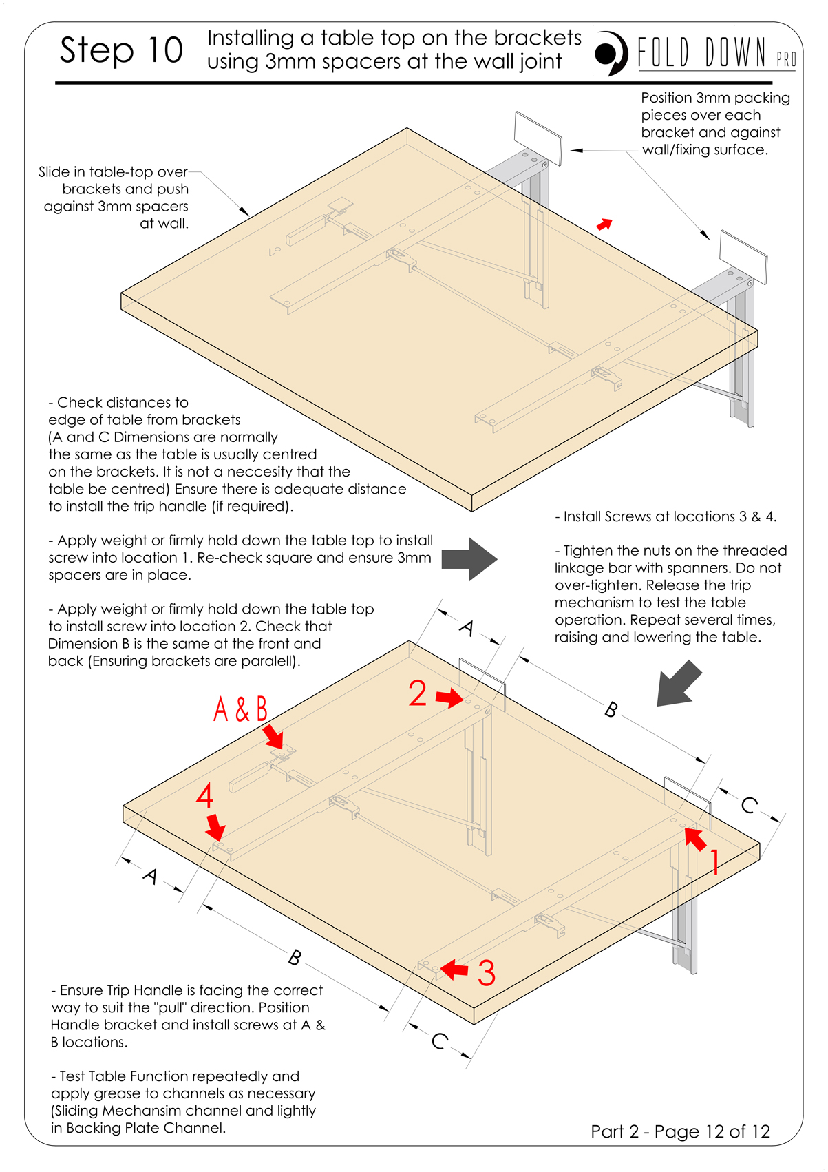 FDP Wall Mounted Folding Bracket Instruction Page 12