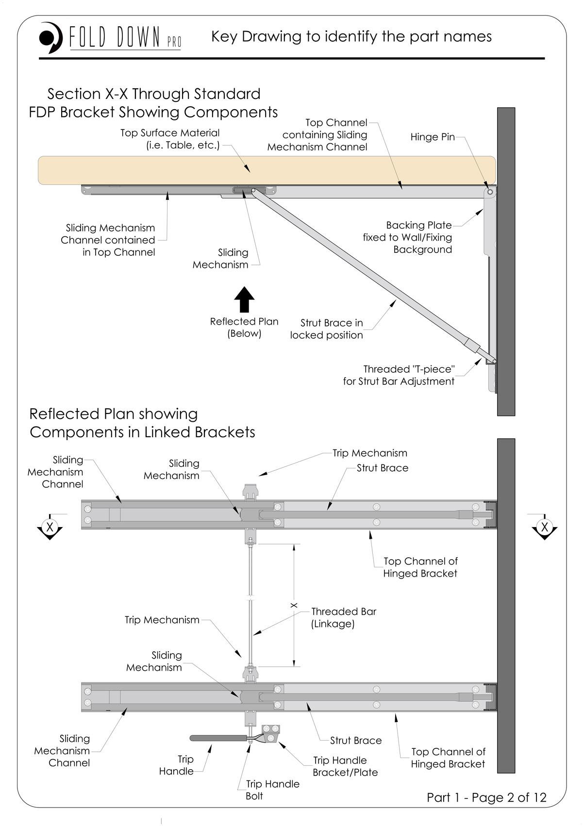 FDP Wall Mounted Folding Bracket Instruction Page 2