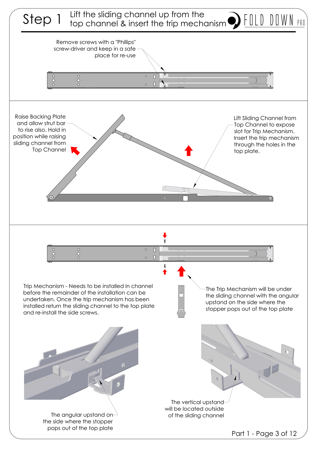 FDP Wall Mounted Folding Bracket Instruction Page 3