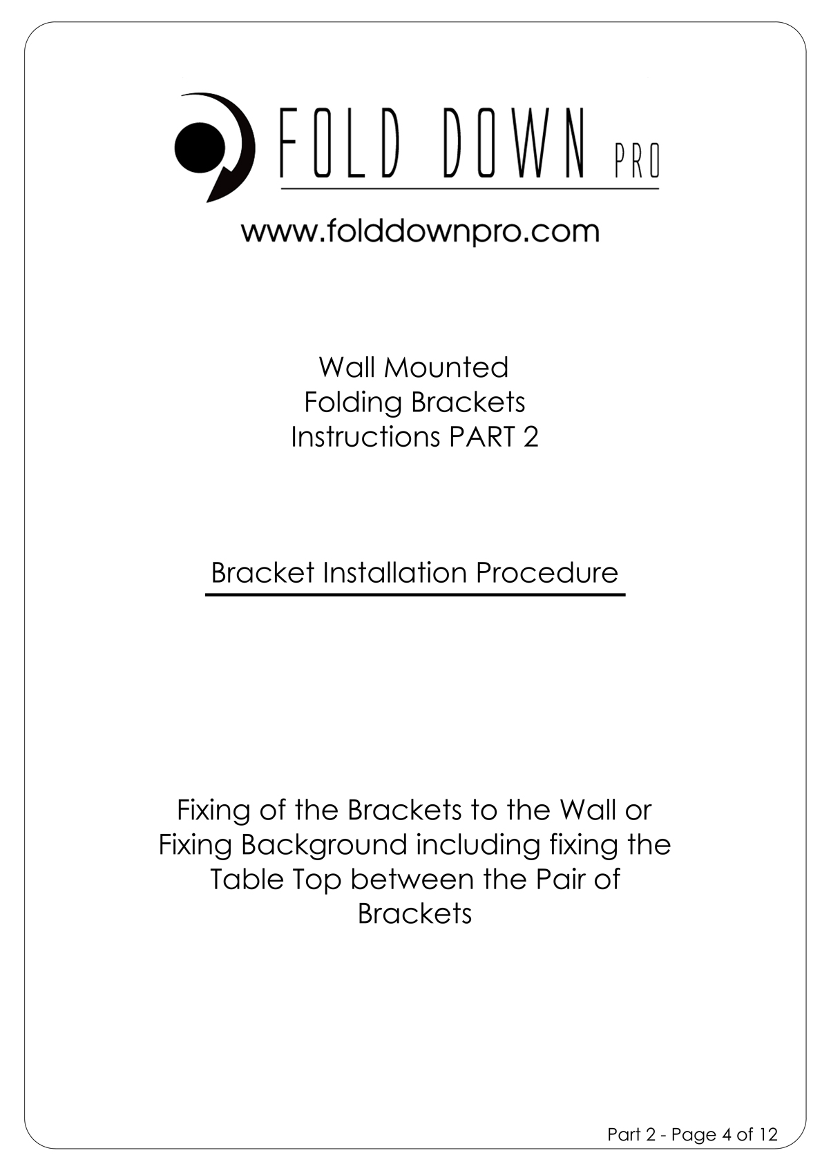 FDP Wall Mounted Folding Bracket Instruction Page 4