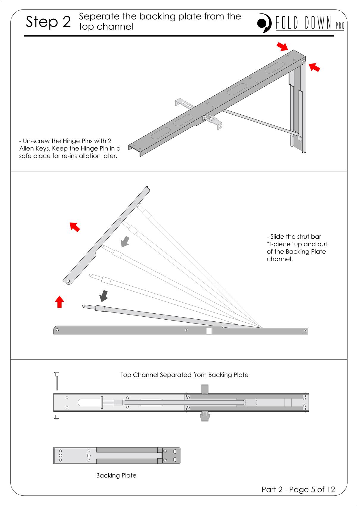FDP Wall Mounted Folding Bracket Instruction Page 5