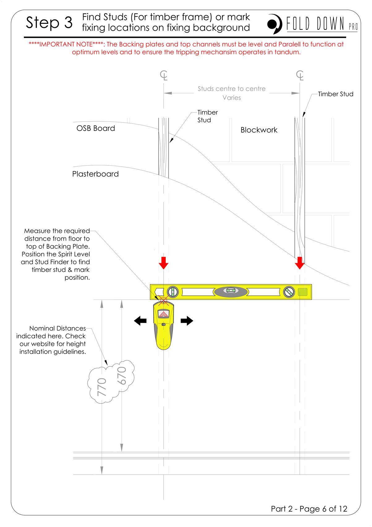 FDP Wall Mounted Folding Bracket Instruction Page 6