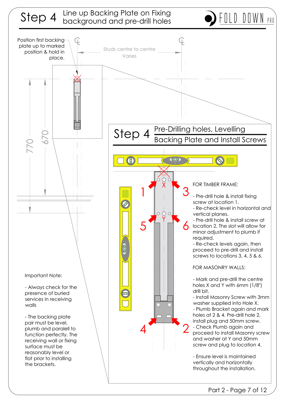 FDP Wall Mounted Folding Bracket Instruction Page 7