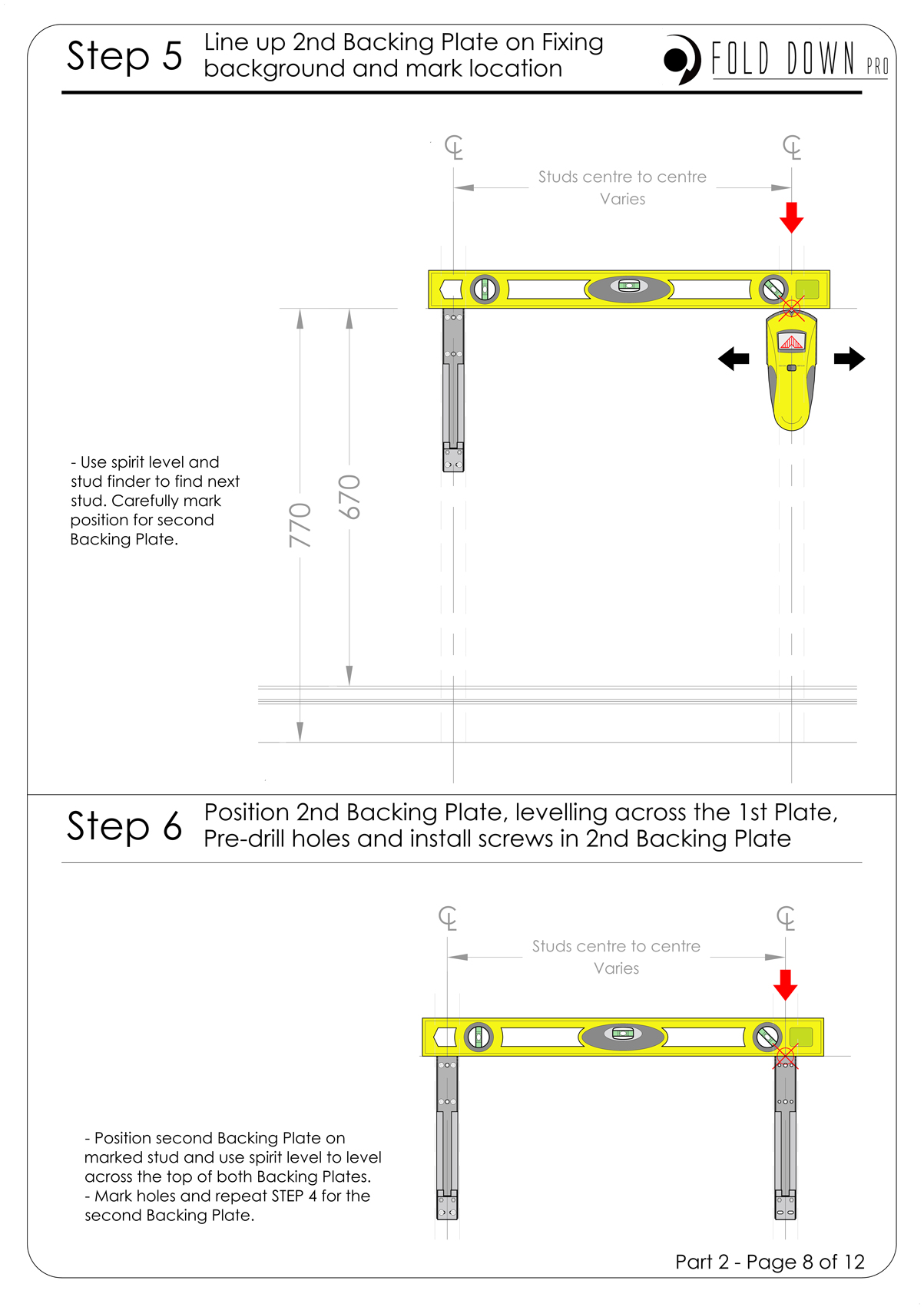FDP Wall Mounted Folding Bracket Instruction Page 8