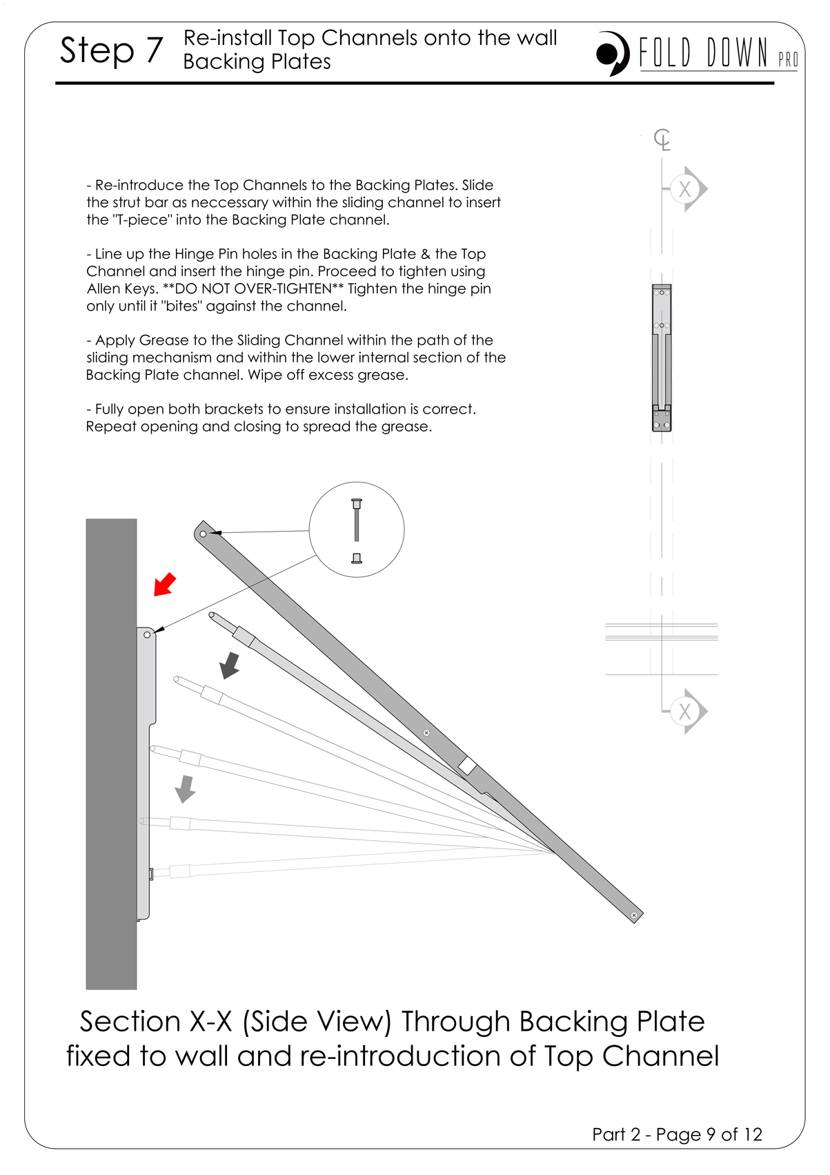 FDP Wall Mounted Folding Bracket Instruction Page 9