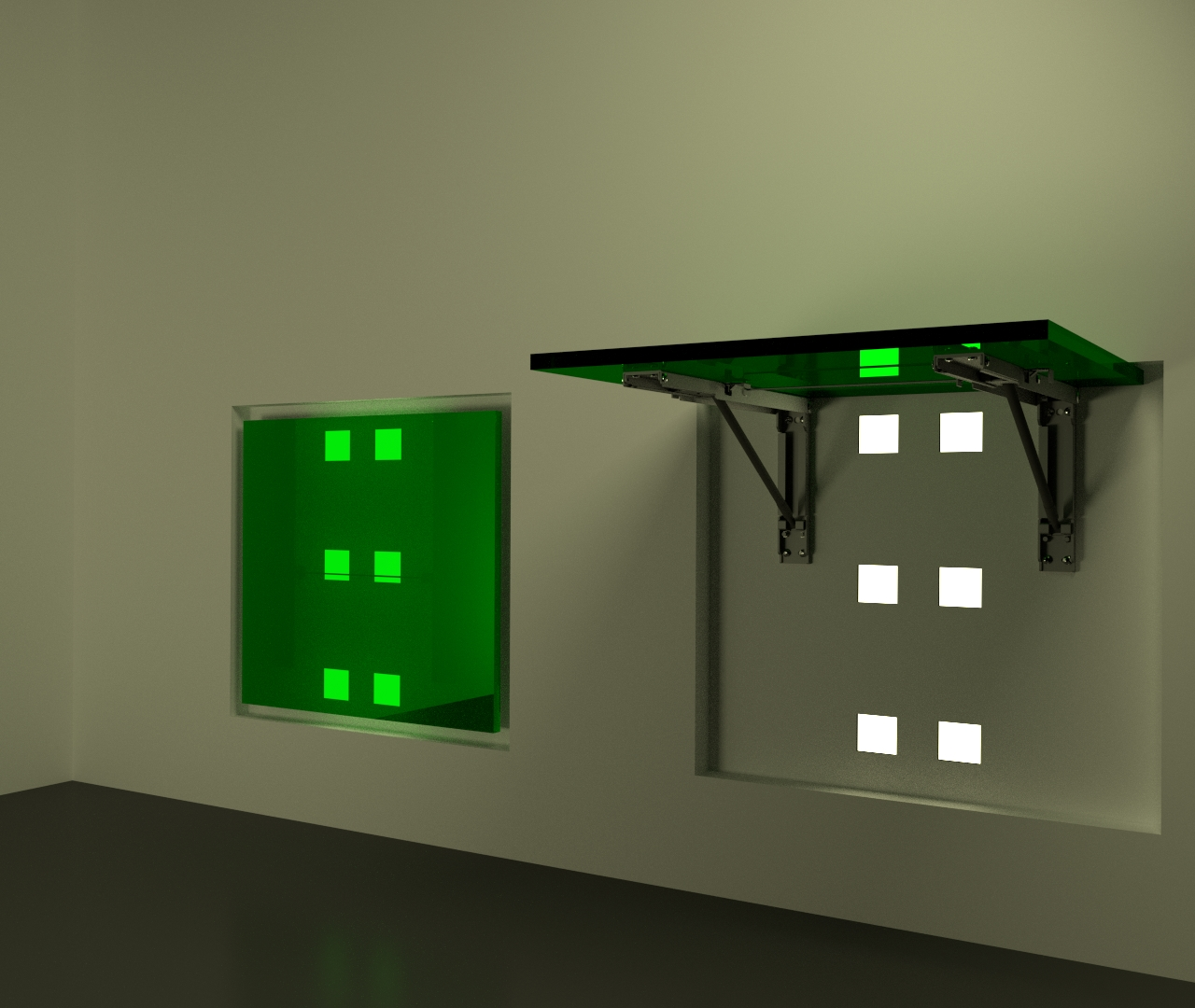 Wall Mounted Green Acrylic Table