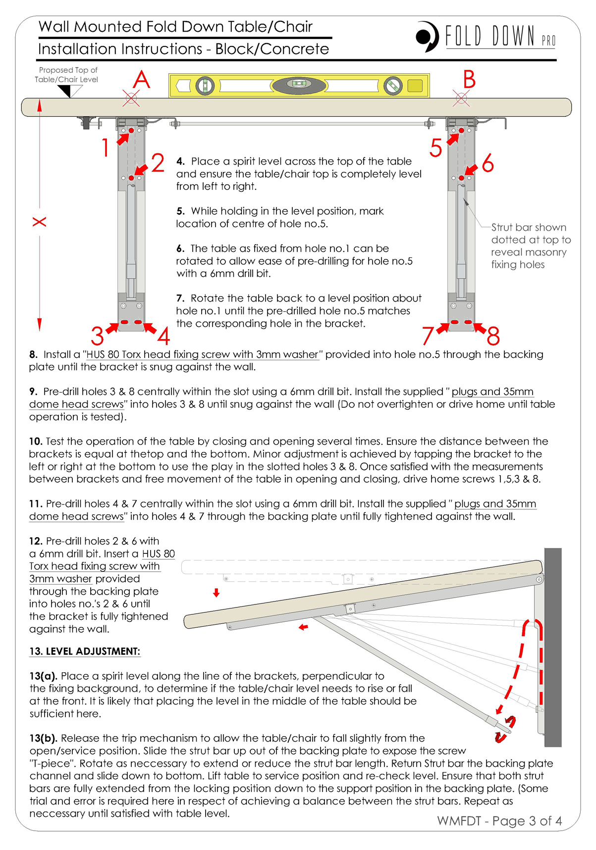 Wall Mounted Fold Down Table Chair Instructions Page 3