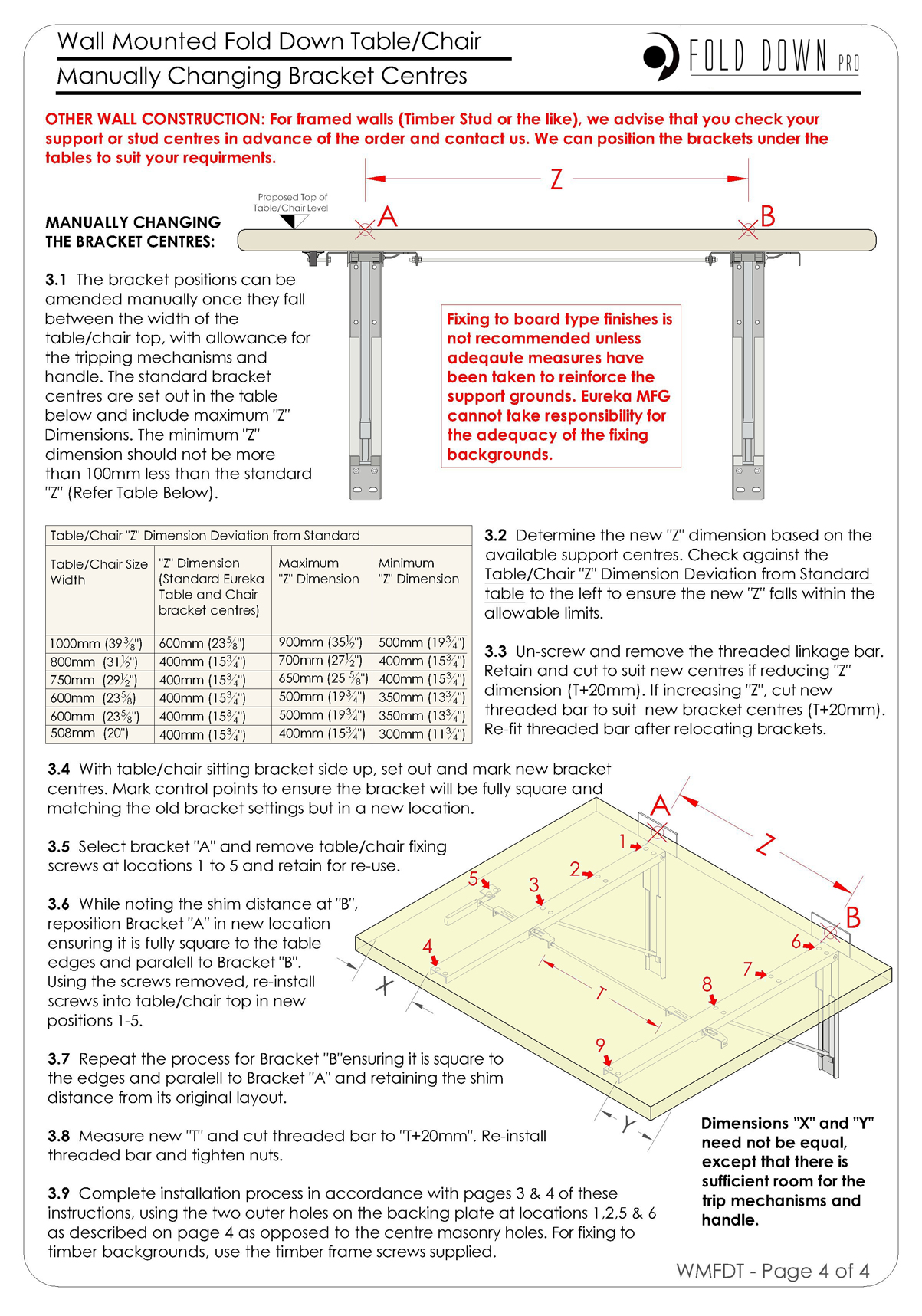 Wall Mounted Fold Down Table Chair Instructions Page 4