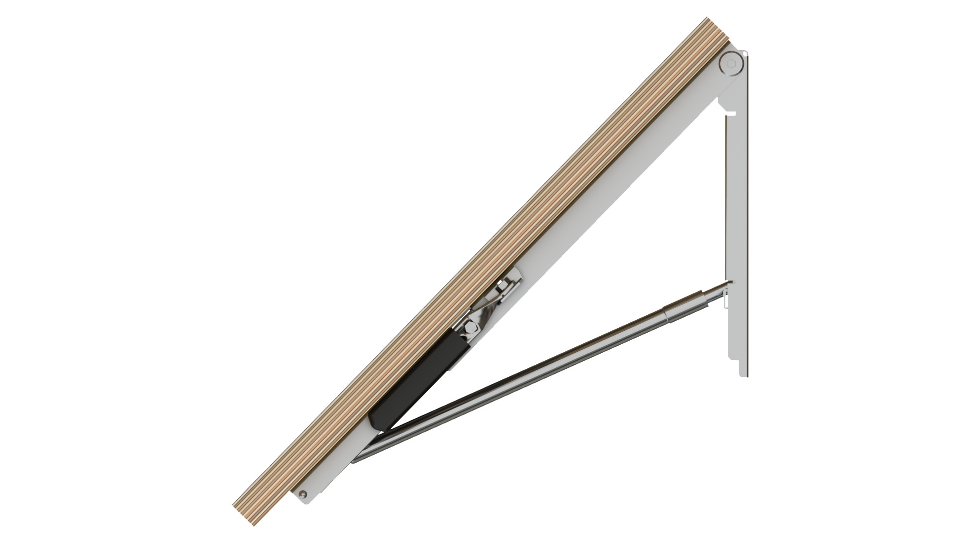 Side View Of Wall Mounted Table With Folding Brackets At 45 Degrees