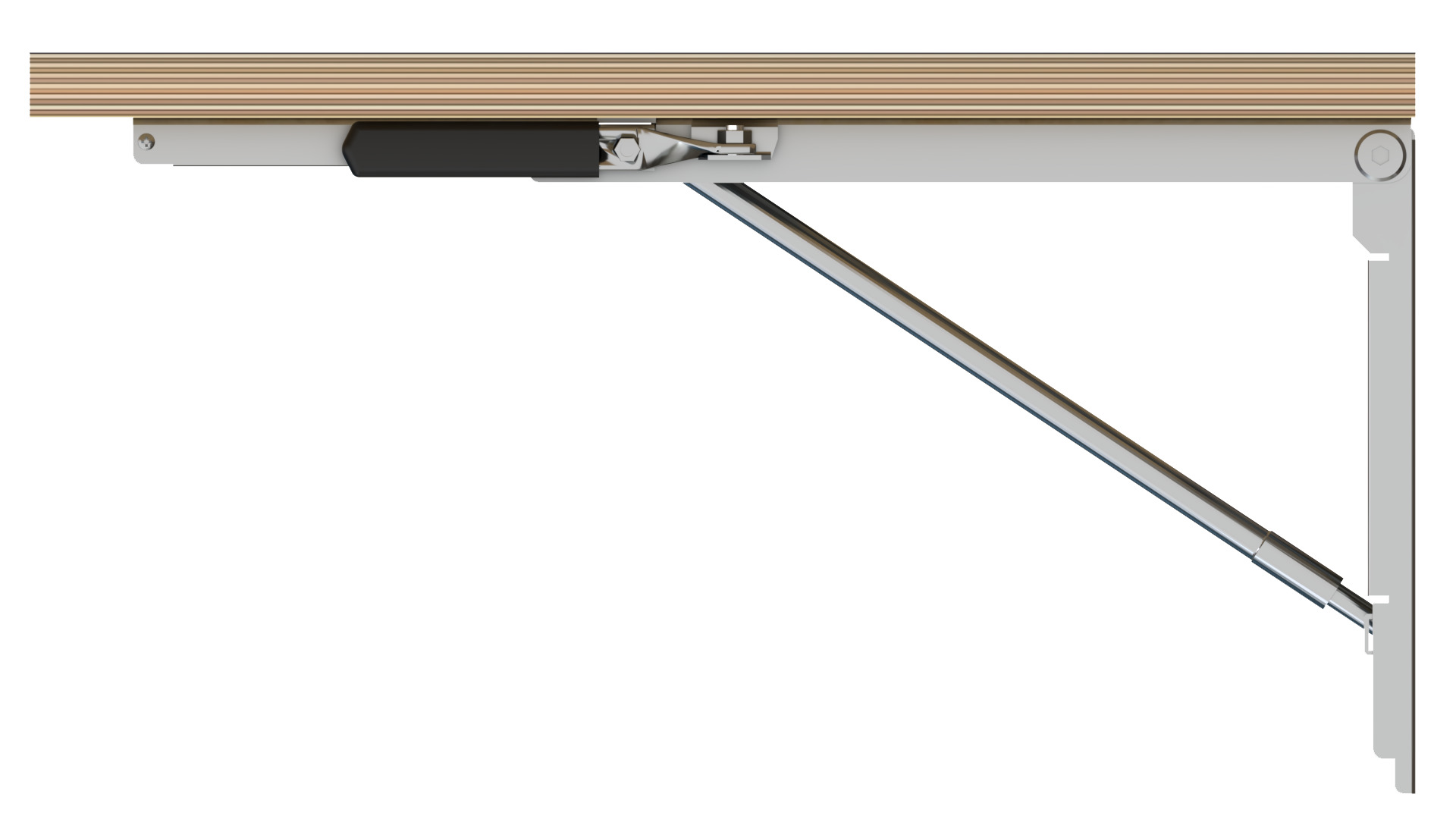 Side View Of Wall Mounted Table With Folding Brackets Folded Up