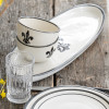"20"" Antipasto Tray with Bowl in Black Flour De Lis"