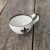 16 oz Bowl with Handle in Black Fleur de Lis