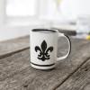 14 oz Mug in Black Fleur de Lis