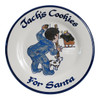 "Personalized 9"" Rimmed Plate with Boy Leaving Cookies for Santa"