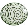 "Thin 15"" Oval Platter in Graffiti Green, Stoneware Serving Platter"