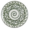"16"" Round Platter in Graffiti Green, Stoneware Platter"