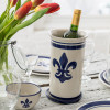 "10.5"" Wine Cooler & Saucer in Blue Fleur de Lis"
