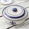 3 Qt. Casserole & Cover in Blue Fleur de Lis