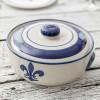2 Qt. Casserole & Cover in Blue Fleur de Lis