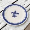 "11"" Rimmed Plate in Blue Fleur de Lis"