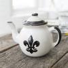 Teapot & Cover in Black Fleur de Lis