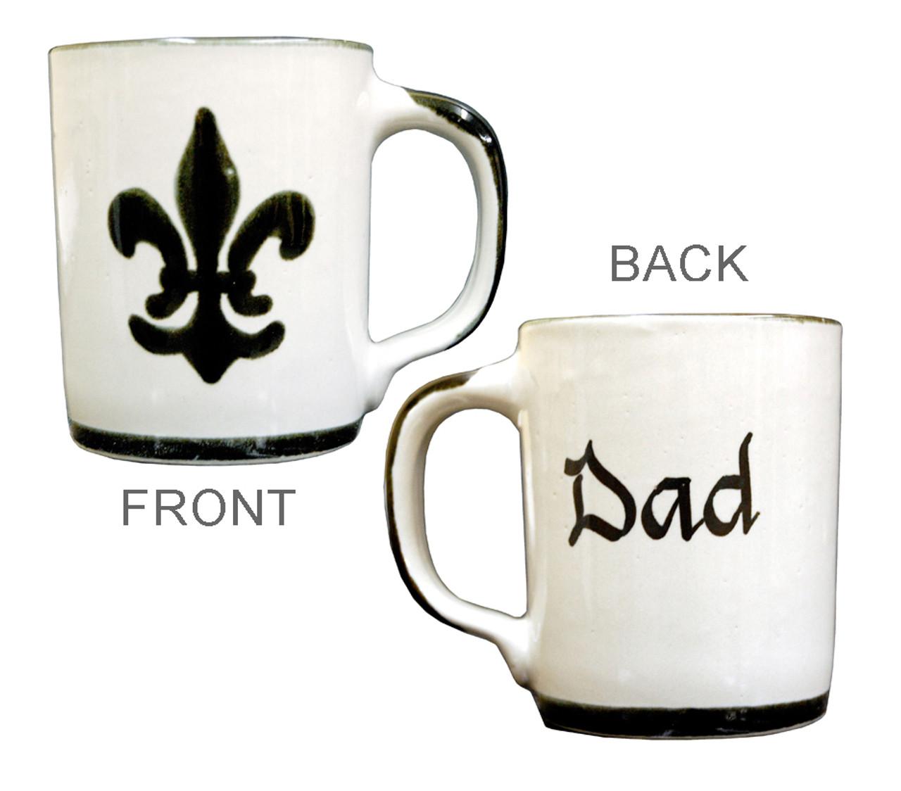 Personalized 14 Oz Black Fleur De Lis Mug