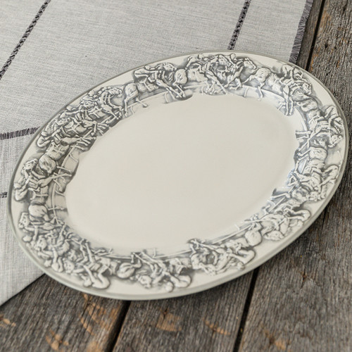 "19"" Embossed Running Horse Large Oval Platter"