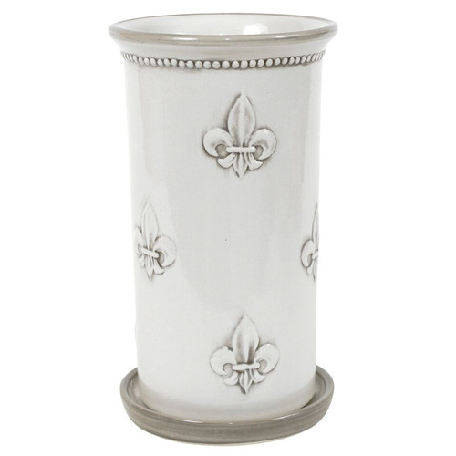 Wine Cooler & Saucer in Embossed Fleur De Lis