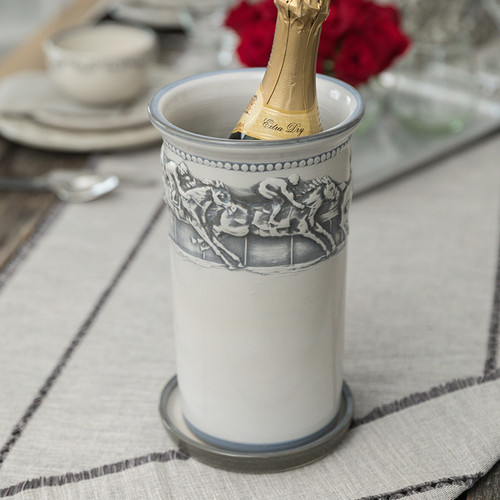 """10.5"""" Wine Cooler and Saucer in Embossed Running Horse"""