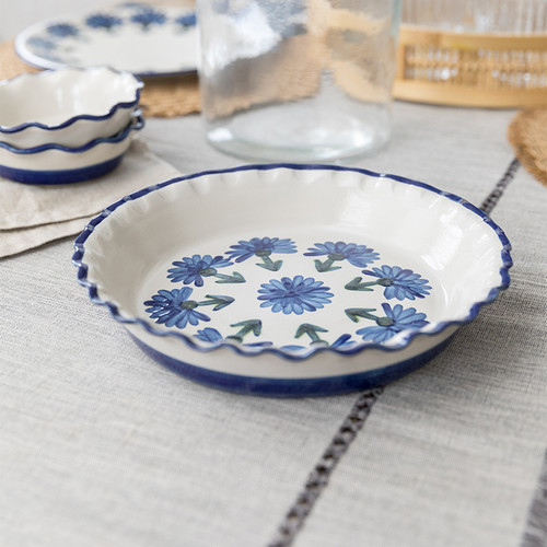 Thumb Print Pie Plate in Bachelor Button