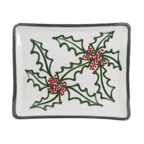 Christmas Dinnerware.14 Square Tray In Holly Graffiti