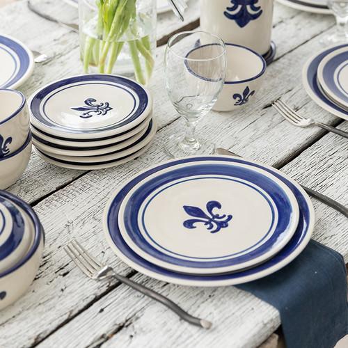 4-Piece Thin Place Setting in Fleur De Lis Blue