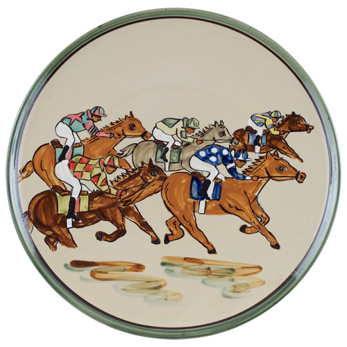 """16"""" Round Platter with Racing Horses"""