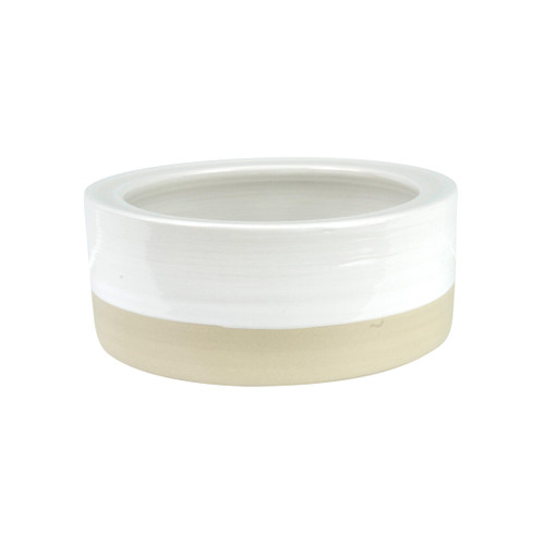 """5"""" Rimmed Pet Bowl in White - Louisville Pottery Collection"""