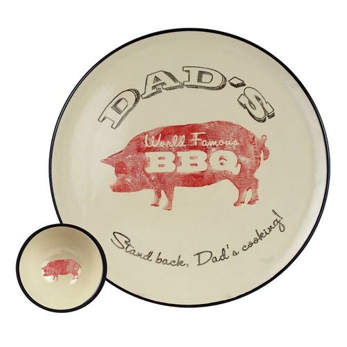 """16"""" Round Dad's World Famous BBQ Platter with Bowl Set"""