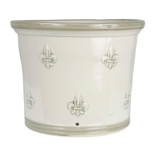 "13"" Fluer de Lis Flower Pot in Special Grey"
