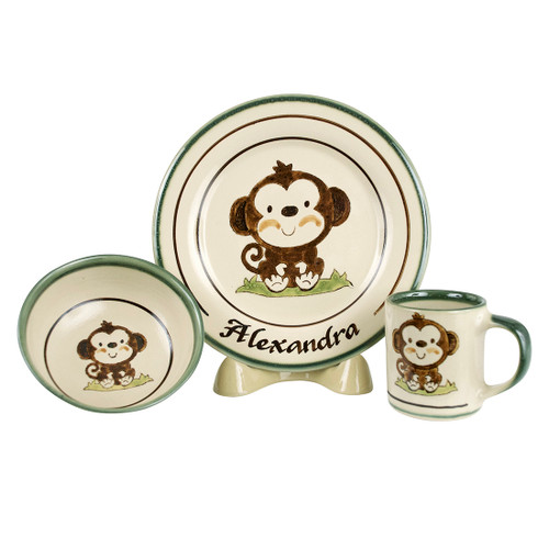 Personalized 3-Piece Child's Place Setting with Monkey