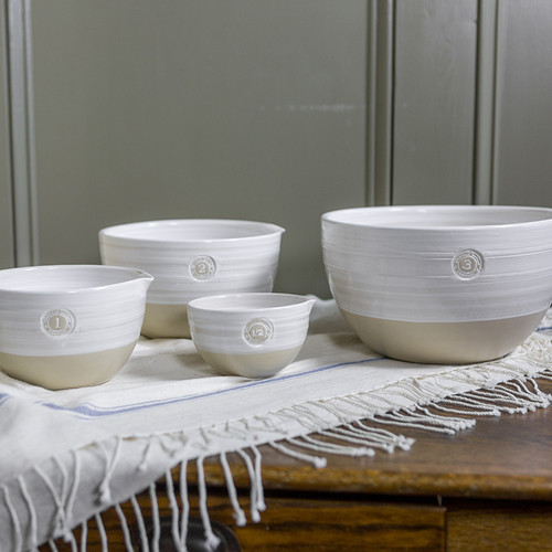 4-Piece Louisville Pottery Collection Nested Mixing Bowl Set in White
