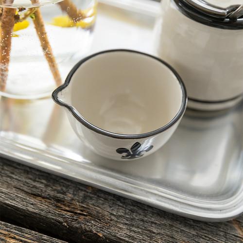 4 oz Spouted Nesting Bowl in Black Fleur De Lis