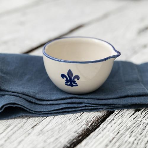 4 oz Spouted Nesting Bowl in Blue Fleur De Lis