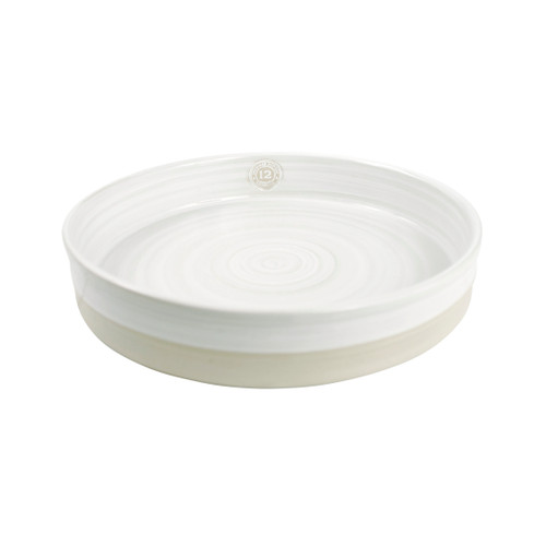 "12"" Tray Stamped & Embossed in Center in White - Louisville Pottery Collection"