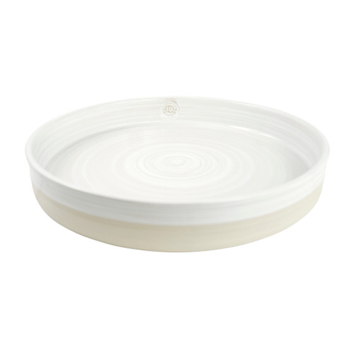 """16"""" Tray Stamped & Embossed in Center in White - Louisville Pottery Collection"""