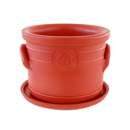 """6"""" Planter with Holes & Saucer in Red- Louisville Pottery Collection"""