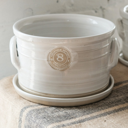"""8"""" Planter with Holes & Saucer in White- Louisville Pottery Collection"""