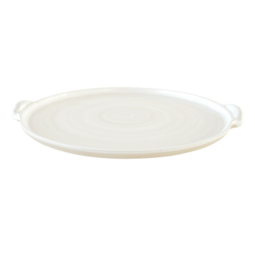 """14"""" Round Handle Tray - Louisville Pottery Collection White"""