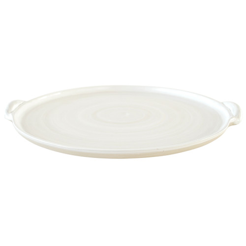 """18"""" Round Handle Tray - Louisville Pottery Collection White"""