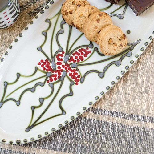 Holly Graffiti Antipasto Tray with Bowl