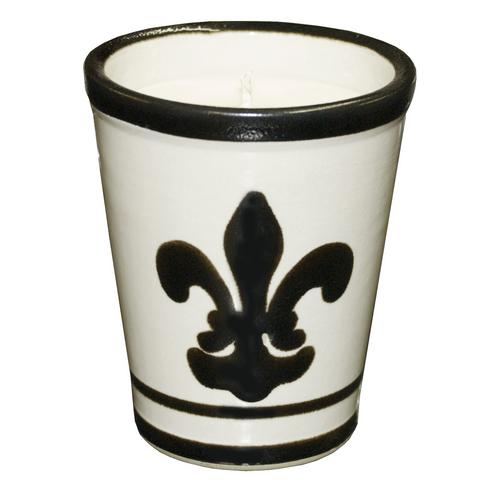 9oz Julep Cup with Soy Candle Fleur de Lis Black
